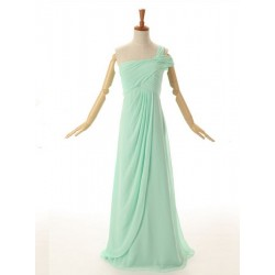 Floor Length A-line One Shoulder Green Chiffon Bridesmaid Dress With Ruched